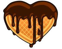 Chocolate waffle heart Royalty Free Stock Photos