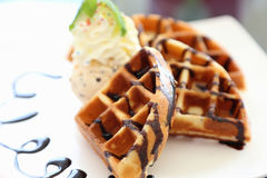 The chocolate waffle Royalty Free Stock Images