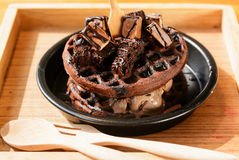 Chocolate waffle with ice cream Royalty Free Stock Image