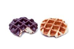 Chocolate waffle isolated on white background Royalty Free Stock Images