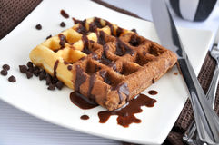 Chocolate Waffle on Plate Royalty Free Stock Images