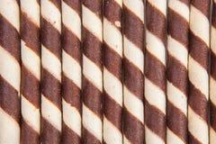 Chocolate waffle rolls with chocolate cream Stock Photos