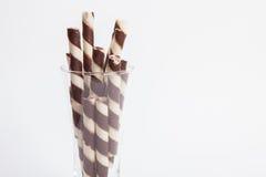 Chocolate waffle rolls with chocolate cream Royalty Free Stock Photo