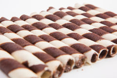 Chocolate waffle rolls with chocolate cream Royalty Free Stock Images