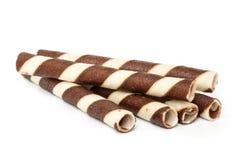 Chocolate waffle rolls. Stock Photo