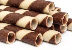 Chocolate waffle rolls. Royalty Free Stock Image