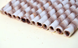 Chocolate waffle rolls Stock Photography