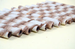 Chocolate waffle rolls Royalty Free Stock Image
