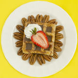 Chocolate Waffle With Strawberry and Nuts. Belgian waffle with hot fudge,strawberries, pecan nuts and whipped cream. studio lights and 100mm macro lens Royalty Free Stock Photo