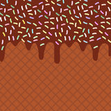 Chocolate waffles with flowing chocolate sauce and sprinkles background for your text. Sweet texture. Vector Stock Photo