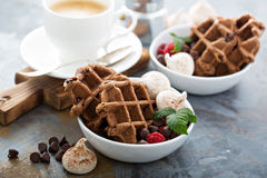 Chocolate waffles with meringues and coffee Royalty Free Stock Photos