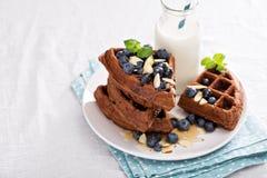 Chocolate waffles with milk Stock Photos