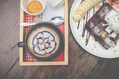 chocolate waffles with vanilla ice cream, banana, whipped cream Stock Photos