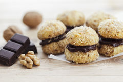 Chocolate Walnut Cookies Stock Photos