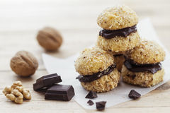 Chocolate Walnut Cookies Stock Photography