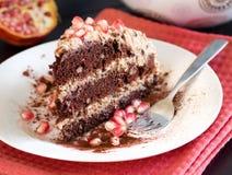 Chocolate, walnut and Prune Cake Stock Photo