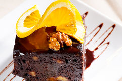 Chocolate and walnuts cake Stock Photography