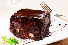 Chocolate and walnuts cake Stock Photography
