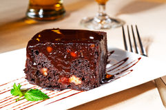 Chocolate and walnuts cake Stock Image