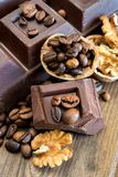 Chocolate and walnuts Royalty Free Stock Images