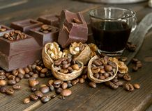 Chocolate and walnuts Stock Images