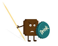 Chocolate warrior with bottle cap and toothpick Royalty Free Stock Images