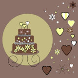 Chocolate Wedding Cake. With Green Flowers and Hearts Royalty Free Stock Images