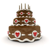 Chocolate Wedding cake. 3D rendering of  a impressive chocolate three floor cake with red hearts and candles Royalty Free Stock Image