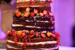 Chocolate wedding cake decorated with fruits Stock Image