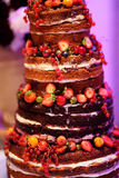 Chocolate wedding cake decorated with fruits Royalty Free Stock Image