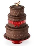 Chocolate wedding cake isolated on white background. 3D illustration Royalty Free Stock Images