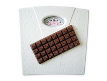 Chocolate on weighing scales Stock Image