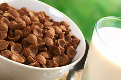 Chocolate Wheat Flake Cereal. In white bowl with a glass of milk (Selective Focus, Focus one third into the bowl of cereals Royalty Free Stock Photography