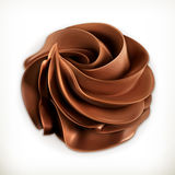 Chocolate whipped cream, vector icon Royalty Free Stock Photography
