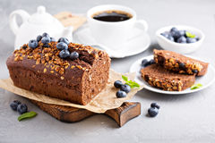 Chocolate whole wheat quick bread. With nuts and fresh blueberry Royalty Free Stock Images