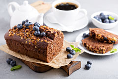 Chocolate whole wheat quick bread. With nuts and fresh blueberry Stock Image
