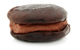 Chocolate Whoopie Pie On White Stock Photography