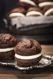 Chocolate Whoopie Pies or Moon Pies Stock Photo