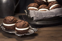 Chocolate Whoopie Pies or Moon Pies stock photo