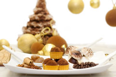 Chocolate winter and christmas sweets Stock Photos
