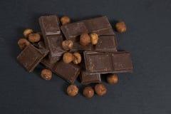 Chocolate wirh hazelnut. Some broken chocolate with hazelnut Royalty Free Stock Photography