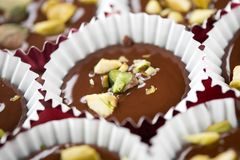 Chocolate With Pistacios Stock Images