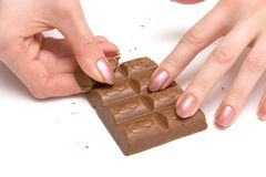 Chocolate and woman hands Stock Photo