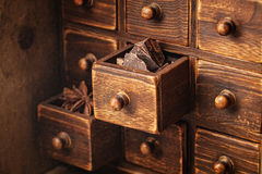 Chocolate in wooden box Royalty Free Stock Photo