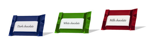 Chocolate wraped in colorful foil Royalty Free Stock Photography