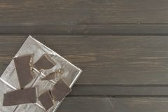 Chocolate wrapped in aluminum foil Stock Photography