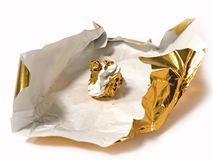 Chocolate Wrapper. Recently emptied chocolate wrapper Royalty Free Stock Image