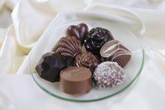 Chocolate y almendra garapiñada Fotografía de archivo