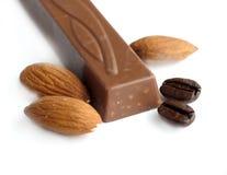 Chocolate y almendras Fotografía de archivo