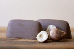Chocolate y avellana Imagen de archivo libre de regalías